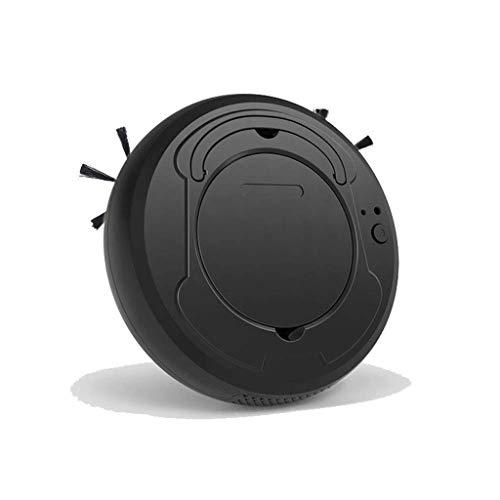 STRAW Aspirador robótico con aspiración de Potencia máxima, Pisos Duros y alfombras (Color : Black)