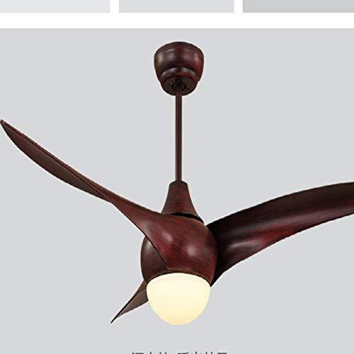 Lámpara de diseño 52 Pulgadas Simple Moderno Sala de Estar Comedor Dormitorio Control Remoto led Ventilador luz luz de Techo Wenhengshangmaoyuxiangongsi (Color : Dark Wood Color)