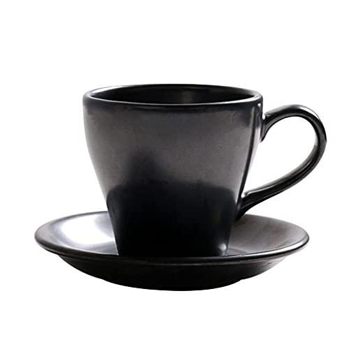 Latte Art Cup European 300ml Hecho a mano taza de té Cerámica Café de café Flor de taza de té, taza de bebida retra para beber Cuchara a juego y mango cómodo, microondas, lavavajillas Caja fuerte, Cof