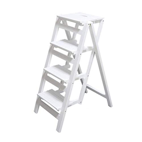 HUAXUE ZHXZHXMY Simple Family Stool Escalera Plegable de Madera for 4 Adultos Soporte Taburete del Asiento de la Planta de Escalera en Forma de Salón Dormitorio Balcón Jardín Zapatero Blanca