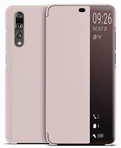 EUDTH Capa para Huawei P20 Pro, capa protetora de janela Smart View de couro PU com função de suporte para Huawei P20 Pro 6,1 polegadas – Rosa