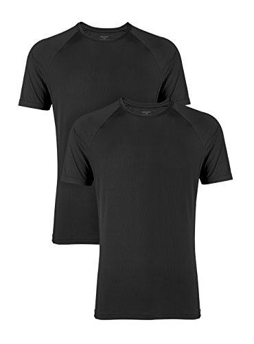 DAVID ARCHY Men's 2 Pack Fast Dry Mesh Crew Neck Undershirts (L, Black)