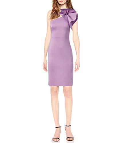 Eliza J Women's One Shoulder Scuba Cocktail Dress with Ruffle Sleeve, LT Lavender, 16