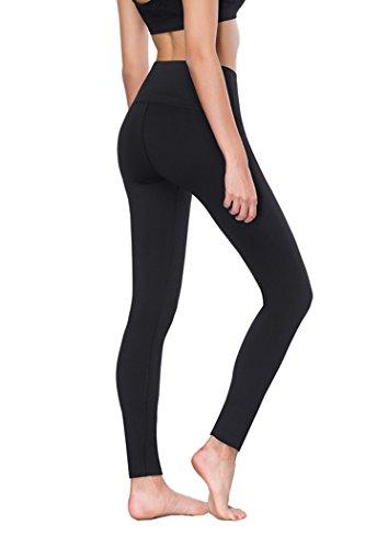 PROMIC Damen Legging, Yoga Legging, Sport Legging, Schwarz (Schwarz-3, X-Large)