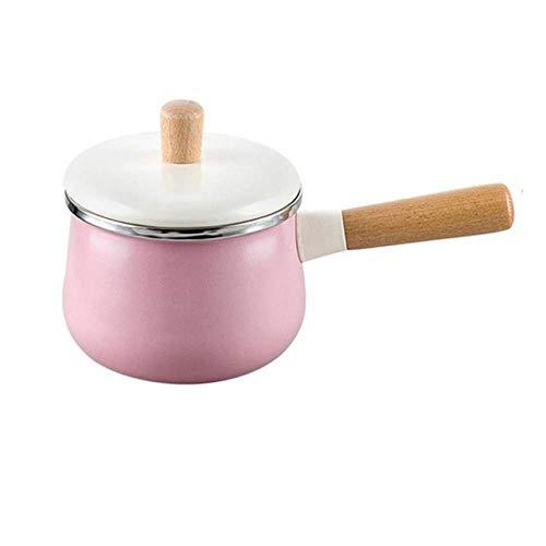 Marmite 1.8L / 3.3L émail Milk Pot Mini Marmite Marmite antiadhésifs Cuisinière Cuisinière à gaz Marmite sans couvercle, Vert 1.8L Huangwei7210 (Color : Pink 1.8l)