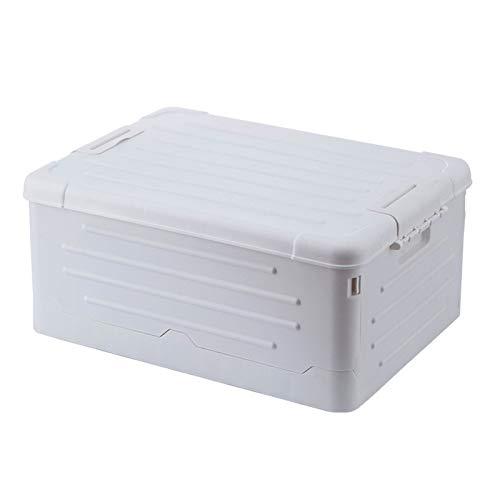 Yissone Caja de almacenamiento de plástico plegable y apilable con tapa para ropa, libros, juguetes, organizador para organizar el hogar y la oficina
