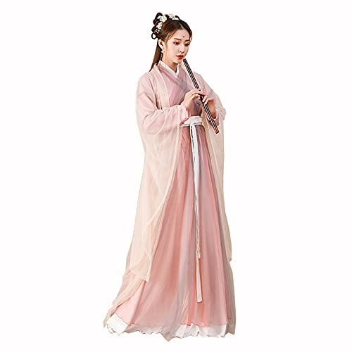 YANLINA Hanfu Hanfu Tradicional Chino Disfraz De Mujer Falda De Hadas Vestido De Princesa Oriental Para El Espectculo De La Etapa Del Carnaval De Cosplay (Color : Pink, Tamao : XS)