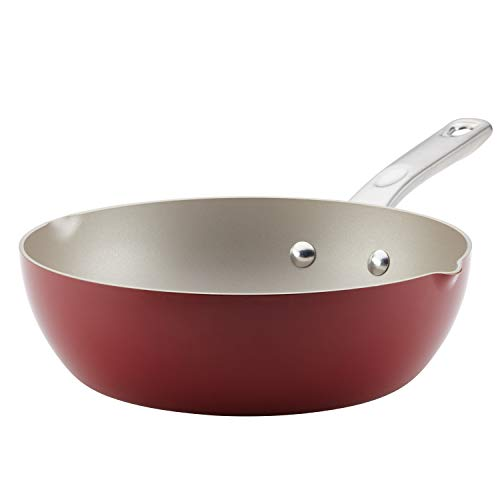 Ayesha Curry Home Collection Nonstick Fry Saute Pan/Chefpan, 9.75 Inch, Sienna Red