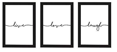 PICSonPAPER Poster mit Rahmen 3er-Set live, Love, Laugh, schwarz gerahmt DIN A4, Dekoration, Kunstdruck, Wandbild, Typographie, Geschenk (Mit IKEA Fiskbo Schwarz Rahmen)
