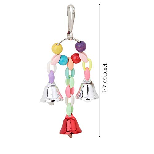 PietyPet Bird Parrot Toys for Cages, 6 pcs Colorful Chewing Hanging Swing Pet Bird Toy with Bells, Wooden Ladder Hammock, Rope Perch, Birdcage Stands for Small and Medium Bird Parrots