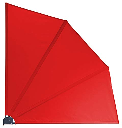 GRASEKAMP Qualität seit 1972 Balkonfächer 120 x 120 cm Rot mit Wandhalterung Schutzhülle Trennwand Sichtschutz