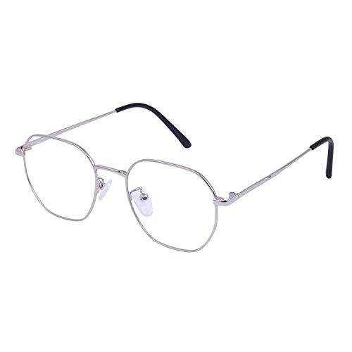 Roshfort® Men and Women Eyewear Full Rim Hexagon Shape Eyeglasses Anti Reflective Eyewear (Silver)