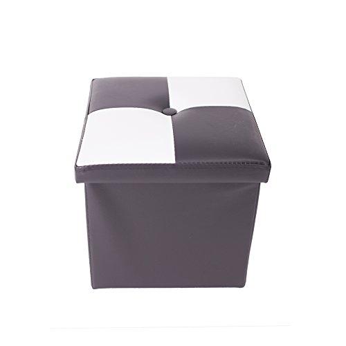 Rebecca Mobili Pouf Simili Cuir, Tabouret Recipient, Repose-Pieds Cube Blanc Noir – Dimensions: 30 x 30 x 30 cm (HxLxL) - Art. RE4899