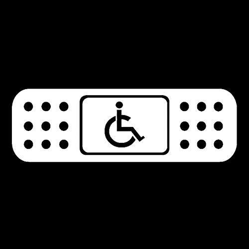 KHJGF Aufkleber 13,5 * 4,1 cm Spaß Band Aid Handicap Rollstuhl JDM Aufkleber Auto Aufkleber Schwarz/Silber Vinyl