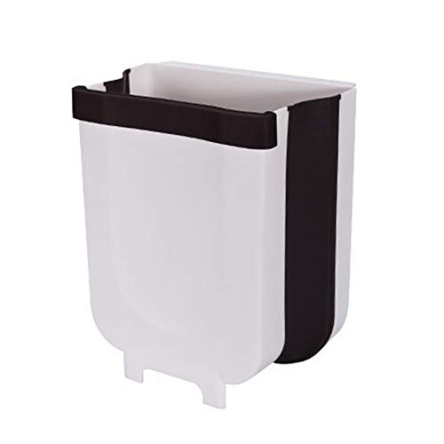 Syfinee Hanging Trash Can Small Cabinet Kitchen Trash Can Garbage Can for Kitchen Cupboard with Automatic Return Lid Wall Mounted Folding Waste Bin Kitchen Trash Can for Bathroom Car