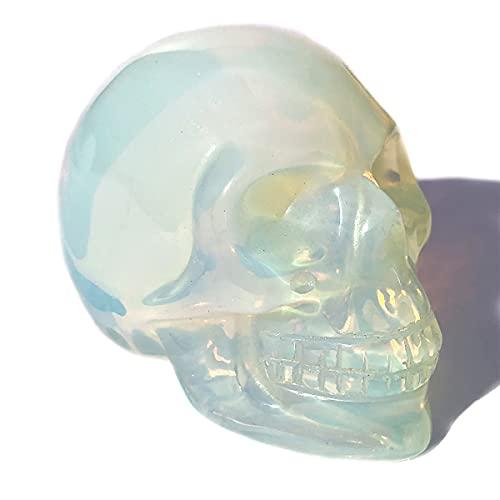Anlingem 1pc 2' Crystal Skull Natural Quartz Skull Gemstone Carved Skull Stone Pocket Statue Healing Energy Reiki Gemstone Collectible Figurine (Opalite Skull) AL-OS