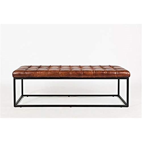 Jofran Global Archive 55''Lx17.5''Wx17.5''H Leather Bench, Saddle