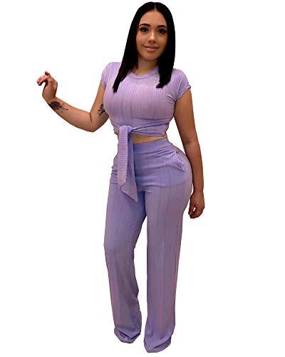 Women Casual Jumpsuits Wide Leg Long Pants Suits 2 Pieces Outfits Purple 2XL