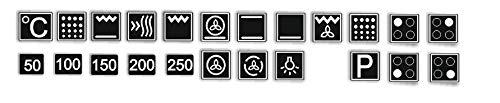Generisch EIN Set mit 23 Stück Herd Aufkleber - weiße Symbole auf schwarzen Hintergrund (R59/1) (10x10mm)