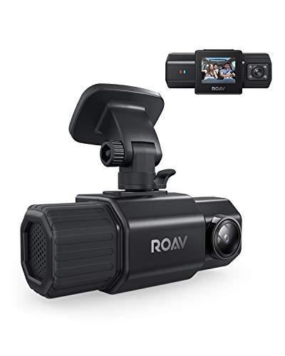 Anker Roav Dual Dash Cam Duo, Dual FHD 1080p Dash Cam para Uber, cámara frontal e interior gran angular de coche, sensores duales Sony, visión nocturna por infrarrojos, GPS, sensor G, grabación en bucle y modo de estacionamiento (sin Wi-Fi)