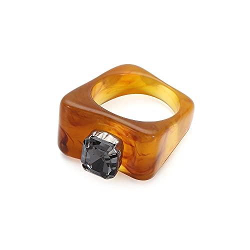 Regalo de acrílico colorido moda transparente joyería anillo de dedo cuadrado...
