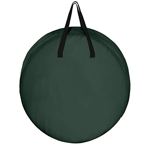 """BELUPAI Wreath Storage Bag 36"""" Dual Zippered and Durable Handles to Protect Artificial Wreaths to Prevent Sagging and Deformed Holiday Christmas Tear Resistant 420D Oxford Fabric (Green)"""