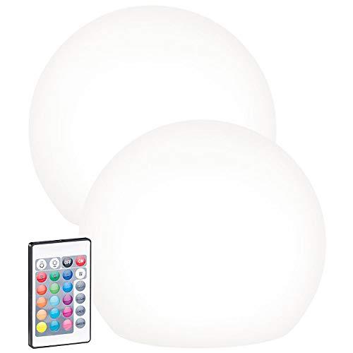 Lunartec Solarkugelleuchte: 2er-Set Solar-LED-Leuchtkugel mit Fernbedienung, 60 Lumen,IP67,Ø20cm (Leuchtkugel Garten Solar)
