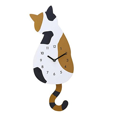 BakeLIN Wanduhr DIY Acryl Cartoon Nette Katze Wanduhren Kreative Home Dekoration Uhr (A)
