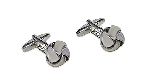 Unbekannt Metallknoten Manschettenknöpfe silbern glänzend - 14 mm + Silberbox Sale