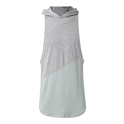 Men's Bodybuilding Sleeveless Hoodies Gym Workout Stringer Hooded Tank Tops Casual Training Sports Vest (Gray,Medium)