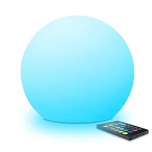 MR.GO 25cm LED-Kugel-Lampe, RGB Farbwechsel Kugelleuchte Tischleuchte mit Fernbedienung, 16 Farben, Dimmbar, Batterie Nachtlicht Stimmungslicht für Wohnzimmer, IP65 Wasserdicht Gartenkugel für Außen