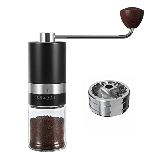 VEVOK CHEF Manual Coffee Grinder Burr Coffee Grinder (Stainless Steel Burr) Grinder 6 Adjustable Setting Portable Hand Crank Coffee Bean Conical Mill for Espresso,French Press Coffee for Coffee Gift