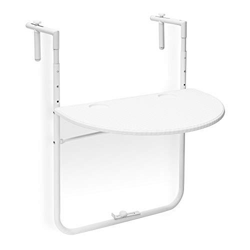 Relaxdays Tavolino per Balcone Pieghevole Modello Bastian in Ottica Rattan, Bianco, 63x60x84 cm