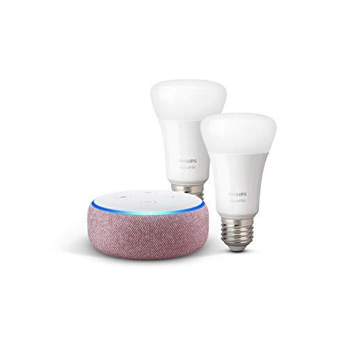 Echo Dot (3.ª generación), tela de color malva + Philips Hue White Pack de 2 bombillas LED inteligentes, compatible con Bluetooth y Zigbee, no se requiere controlador