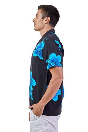 Favant Tropical Luau Beach Hibiscus Floral Print Men's Hawaiian Aloha Shirt (X-Large, Black/Blue)