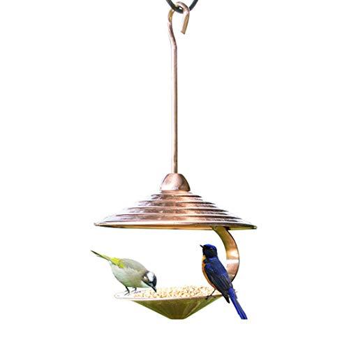 Sungmor Electroplating Copper Bird Feeder - 15'(38cm) High Hanging Bird Feeders for Garden - Outdoor Tree Bird Seed Feeder - Sunflower Nuts Bird Feeding Table - Unique Hook Design Birds Food Tray