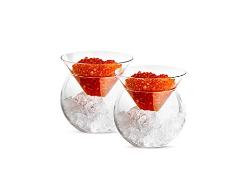 Caviar Dish, by Kook, Glass, Drinks Holder Chiller, Liquor, Martinis, Cocktails, Dish 5 oz, Bowl 15oz