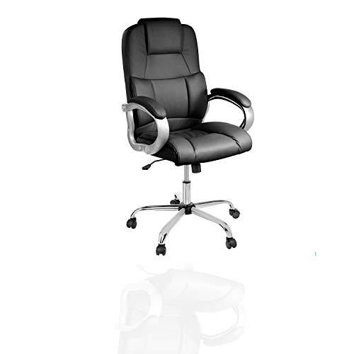 TPFLiving XXL Bürostuhl Denver Premium, ergonomisch gepolsterter Schreibtischstuhl mit abgebremsten Rollen, Moderner Chefsessel aus Kunstleder, Belastbar bis 210kg