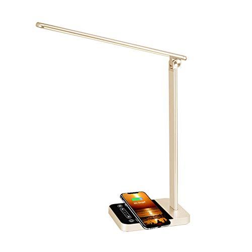 Lámpara Escritorio LED 6 Niveles de Brillo Regulable Cuidado Ojos y Puerto de Carga USB Lámpara de Mesa Inteligente con Pantalla Táctil y WIFI Compatible con Alexa y Google Assistant - Dorado