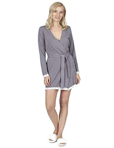 RAIKOU badjas dames korte badjas met V-hals, kant Kimono en zachte slaapjas Loungewear Slaaprok