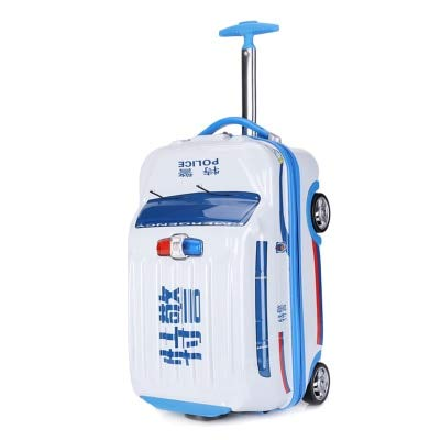 Mdsfe Police car style rolling luggage 20 inch children cartoon trolley suitcase trailer for boys girls kid models - White