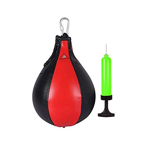 Qdreclod Leder Punchingball Hängender Boxbirne Swivel Speedball Boxen Punchingbälle Trainingsset mit Inflatorpumpe für Emotionen Auslassen, Workout, Fitness, MMA Muay Thai oder Sporttraining