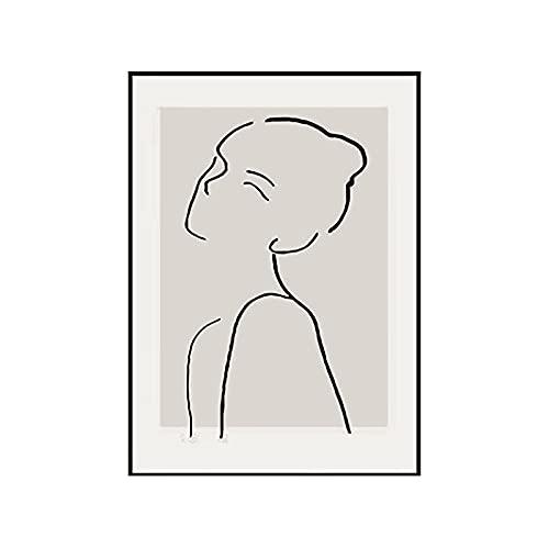 HuiguangTagNeu Pintura de decoración de Pared de Restaurante, pequeña Pintura Abstracta geométrica Fresca, Adecuada para la decoración del hogar (Blanco,40×60cm)