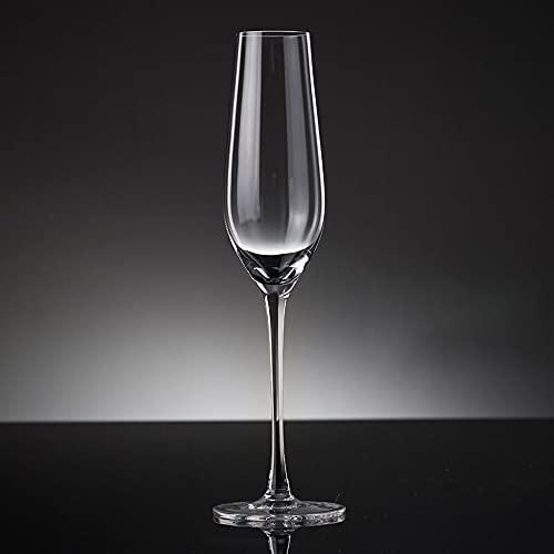 Guoz 4 Copas de champán,Copa de Cristal Transparente sin Plomo,diseño clásico sin Costuras,Juego de Copa de Vino espumoso