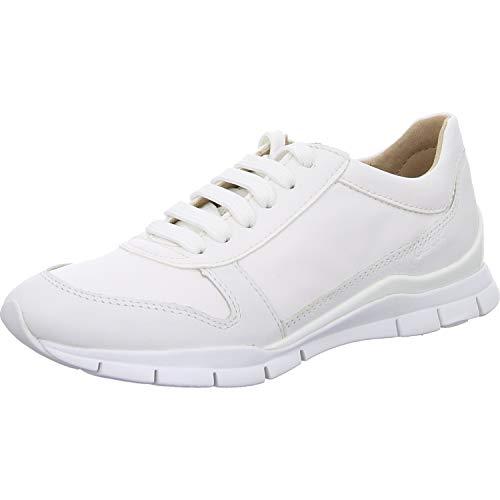 Geox Damen Low-Top Sneaker Sukie, Frauen Sneaker,lose Einlage,Sportschuhe,keil,Sneaker,Wedge,Keilabsatz,Heel,Lady,Ladies,Weiß (White),37 EU / 4 UK