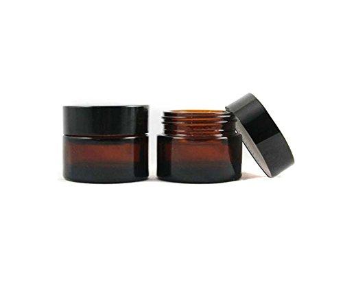 2 Stück 50ML/100ML (1.67OZ / 3.33OZ) Amber Glas Leere Nachfüllbare Probe Flasche Kosmetik Gesichtscreme Jar Pot Flasche Container Halter Fall mit schwarzem Schraubverschluss Deckel und Liner (100ml)