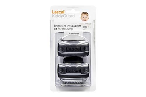 Lascal KiddyGuard Avant/Accent/Assure Support barrière de sécurité, Support escaliers avec rampes arrondies ou angulaires jusqu'à ø50 mm, Set de 2 fixations, noir