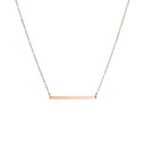 Necklaces for Women - Horizontal Bar Necklace Layer Necklace for Women Adjustable Chain (Rose gold)