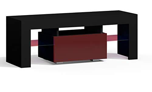 RODRIGO TV Lowboard 110 cm Fernsehschrank TV-Schrank Hochglanz inkl. LED Farbwechsel Beleuchtung (110 x 45 x 35 cm, Schwarz Matt/Bordeaux Hochglanz)