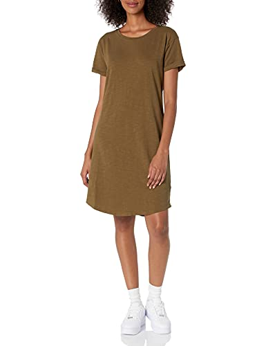 Daily Ritual Women's Lived-in Cotton Relaxed-Fit Roll-Sleeve Crewneck T-Shirt Dress, Army Green, XX-Large